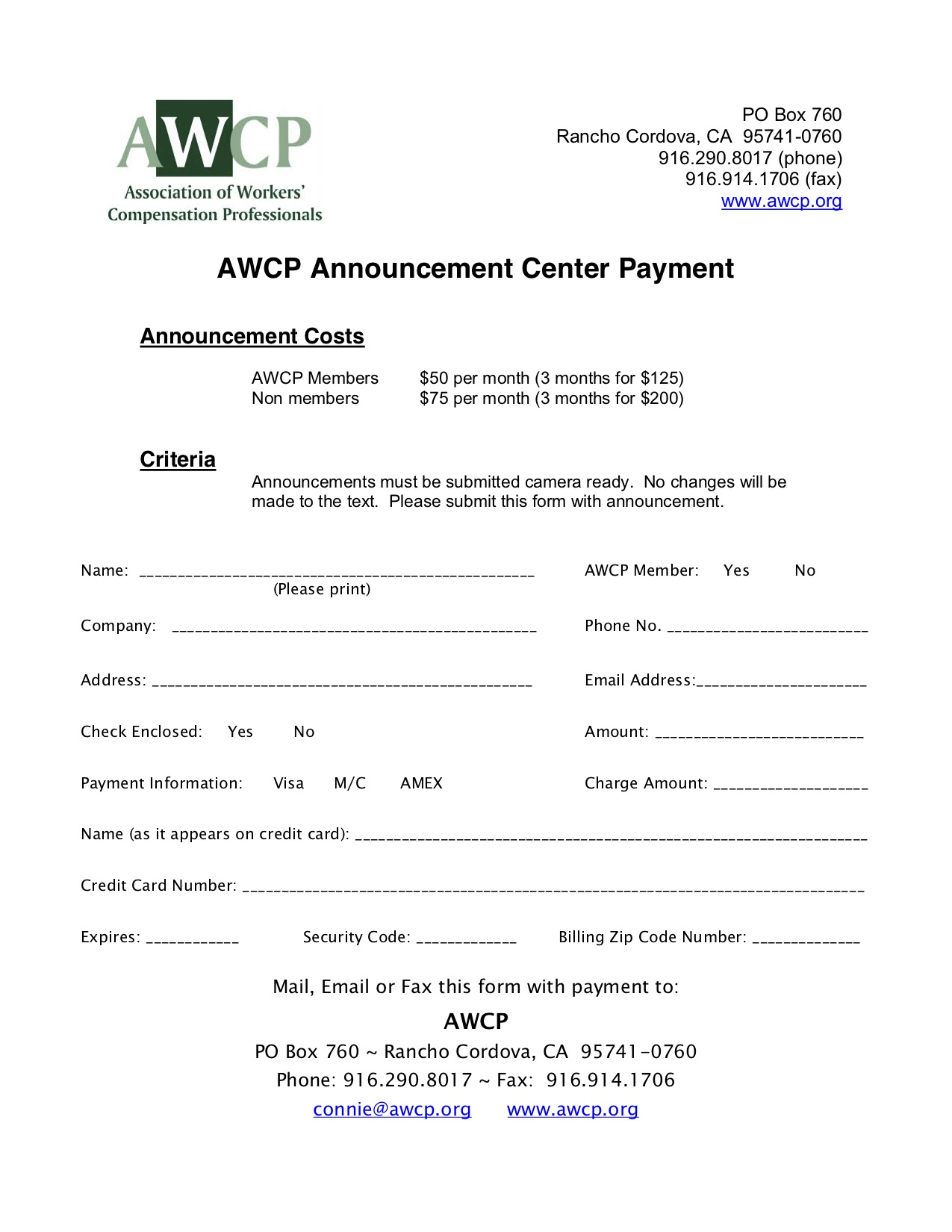 AWCP Announcement Center - Insertion and Payment